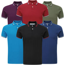Plain Stretch Baumwoll Polo T-Shirt
