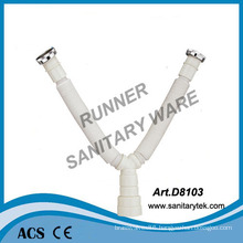 Y Flexible Waste Pipe with Double Siphon Connector (D8103)