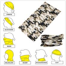 Bandana de polimento sem costura multifuncional de camuflagem de poliéster com design personalizado