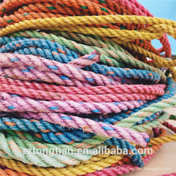 3/4 strands PP PE cotton polyester recycled materials rope for packing/fishing/package/mooring