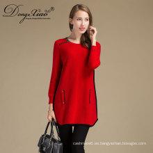 Las mujeres de las ventas de la fábrica de China hicieron punto el suéter merino de la muestra de la muestra de las lanas