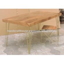 Industrial Brass Inlay Mango Holz Top und Metall Beine Esstisch