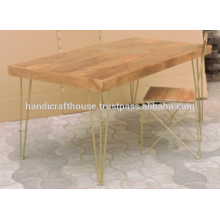 Industrial Brass Inlay Mango Wood Top and Metal Legs Dining Table