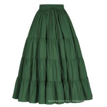 Belle Poque Mujer De Color Verde Sólido De Algodón Ancho De Algodón Maxi Falda De Falda Larga BP000207-3
