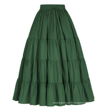 Belle Poque Women's Solid Green Color Wide Hem Cotton Maxi Skirt Long Skirt BP000207-3