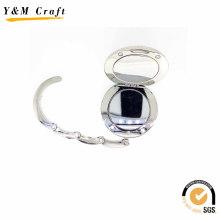 Miroir cosmétique compact de cuir se pliant en céramique de forme ronde faite sur commande