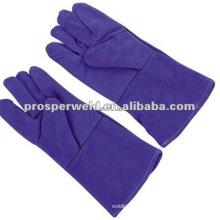 Long purple welding gloves