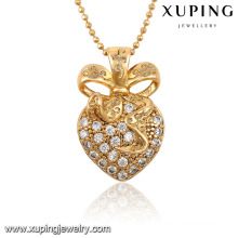 32547-meilleur vente cristal L en forme de coeur diamant CZ 18 k plaqué or pendentif bijoux
