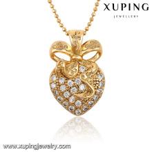 32547-Best Selling Crystal L em forma de coração de diamante CZ 18k Banhado A Ouro Jóias Pingente de Colar