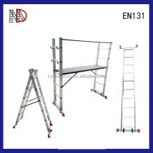 4 in 1 DIY Multi Purpose Scaffolding Ladder Aluminum with wooden Work Platform