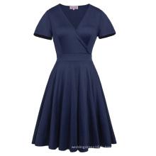 Hanna Nikole à manches courtes à encolure en V Navy Blue Plus Size Robe d'honneur Swing Summer HN0017-2