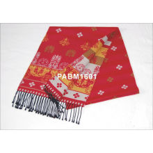 Ren Printing Flower Long Woven Silk Scarf For Man Or Ladies