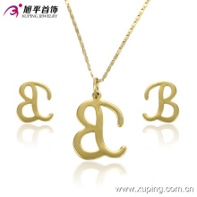 Ensemble de bijoux en imitation or 14k avec lettre 'b'-61260