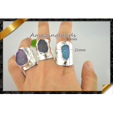 Charm Gem Stone Ring Druzy Slice Rings in Mix Color, Silver Rings Jewelry Making (FR013)