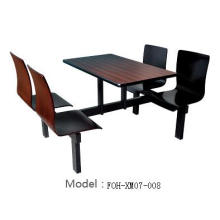 Black Oak Fast Food Court 4 Seat Dining Table and Chair Restaurant Set