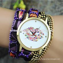 Student jugendlich Mädchen große Zifferblatt Lippen smart Frauen fancy Armband Uhr