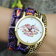 student teen girl big dial lips smart women fancy bracelet watch