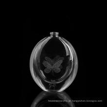 Frasco de perfume circular com logotipo a laser