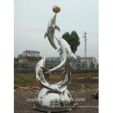 Sculpture en métal moderne Dolphins en acier inoxydable