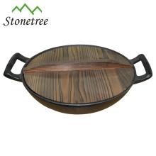 Cacerola al por mayor china del wok del arrabio de la manija doble del esmalte anaranjado