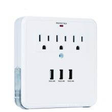 Зарядная розетка с тремя портами USB 3А 3 вилки переменного тока