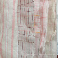 Fresh order MOQ 500meters pink yellow 100% linen cool natrual yarn dyed fabric for shirt dress