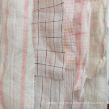Pedido fresco MOQ 500 metros rosa amarelo 100% linho natrual fio tingido tecido para vestido de camisa