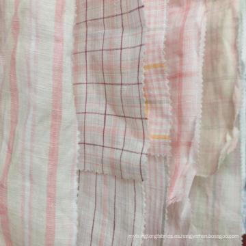 Orden fresca MOQ 500 metros de color rosa amarillo 100% lino natrual hilo teñido tela para vestido de camisa