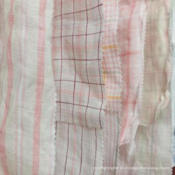 Frais ordre MOQ 500 mètres rose jaune 100% lin natrual fil teint en tissu pour robe chemise