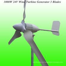 Lâminas novas 3 lâminas avaliado 1000W 24V gerador de vento com 3 anos de garantia & 15 anos de tempo de vida