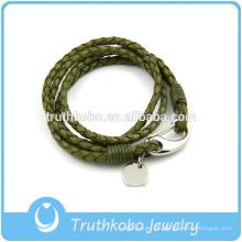 Jóia das mulheres com fechos de lagosta de aço inoxidável Círculo de prata charme pulseira de couro de trança verde