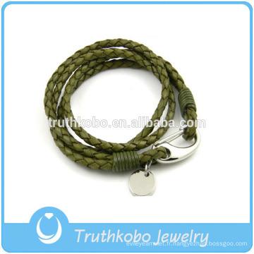 Bijoux pour femmes avec fermoirs à homard en acier inoxydable Bracelet en argent avec breloque cercle vert et cuir