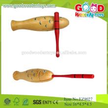 2015Fish Design Деревянный Guiro Музыкальный инструмент, Популярные деревянные классические игрушки