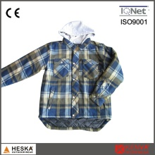 Fashion Mens Hooded Blue Plaid Winter Shirt
