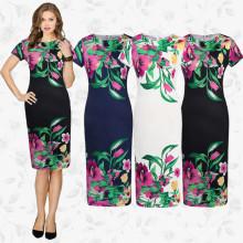 Europe Haute Couture Design Dames Manches Courtes Robe Traditionnelle Slim Fit Imprimé Fleur Col Rond Femmes Robe Robe