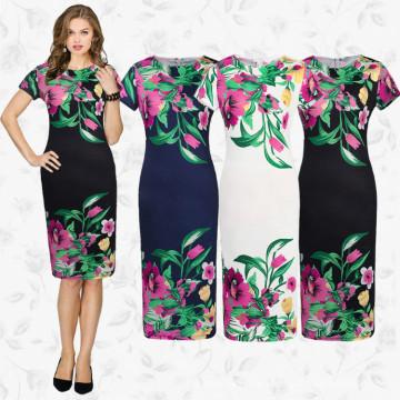 Vestido de manga corta de las mujeres del diseño de la alta costura de Europa del vestido tradicional vestido de las mujeres del cuello redondo de la flor impresa del ajuste delgado