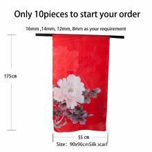 Hangzhou fábrica tamanho livre lenço de seda oem xale impressão personalizada impressão digital 100% lenço de seda real