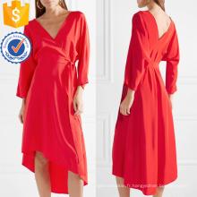 Asymétrique Ourlet V-cou à manches longues rouge Summer Wrap Dress Fabrication en gros Mode Femmes Vêtements (TA0305D)