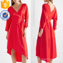 Asymmetric Hem V-Neck Long Sleeve Red Summer Wrap Dress Manufacture Wholesale Fashion Women Apparel (TA0305D)