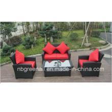 Muebles de mimbre sofá de ratán para jardín con marco de aluminio
