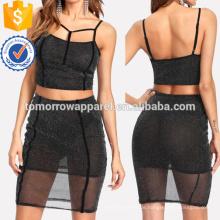 Strappy Glitter Mesh Top & Rock Set Herstellung Großhandel Mode Frauen Bekleidung (TA4052SS)
