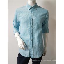 linho mens camisa de manga longa