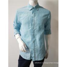 льняная мужская рубашка с длинным рукавом