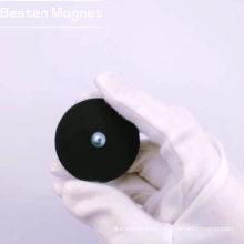 Imán en recipiente negro permanente recubierto de goma