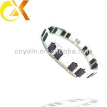 Atacado casal aço inoxidável jóias link cadeia pulseira preto e branco