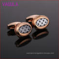 Rose Gold Black and White Case Ruled Men Cufflinks Party