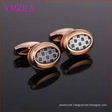 Rose Gold Plating Plaid Shirt Cufflinks Ellipse L51925
