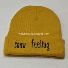 Flat Embroidered Beanie Knitted Hat