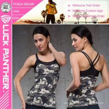 Kundenspezifisches Dri Fit-sexy Frauen-weißes festes Eignungs-Trainings-Trägershirt
