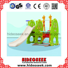 Daycare Center Indoor Plastic Slide for Toddler with Basket Hoop